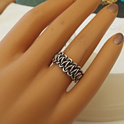 SALE Beautiful Sterling Silver Woven Wire Band Ring, Size 6-1/2