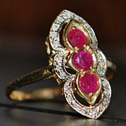 14K 3 Stone Ruby and Diamond Ring