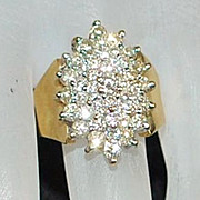 Large 14K Diamond ( 1.75ct) Cluster Cocktail Ring