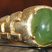 14K Green Nephrite Mens Jade Ring