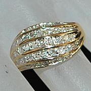14K Diamond  Cocktail Ring,1960's