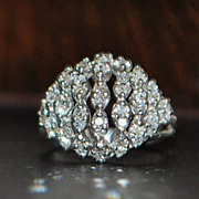 18K w/g Dome Filigree Diamond Ring, c. 1930