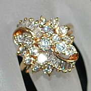 14K Diamond Cluster Cocktail Ring,1980's