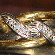 18K Italian Two Tone Diamond Band - 1960's