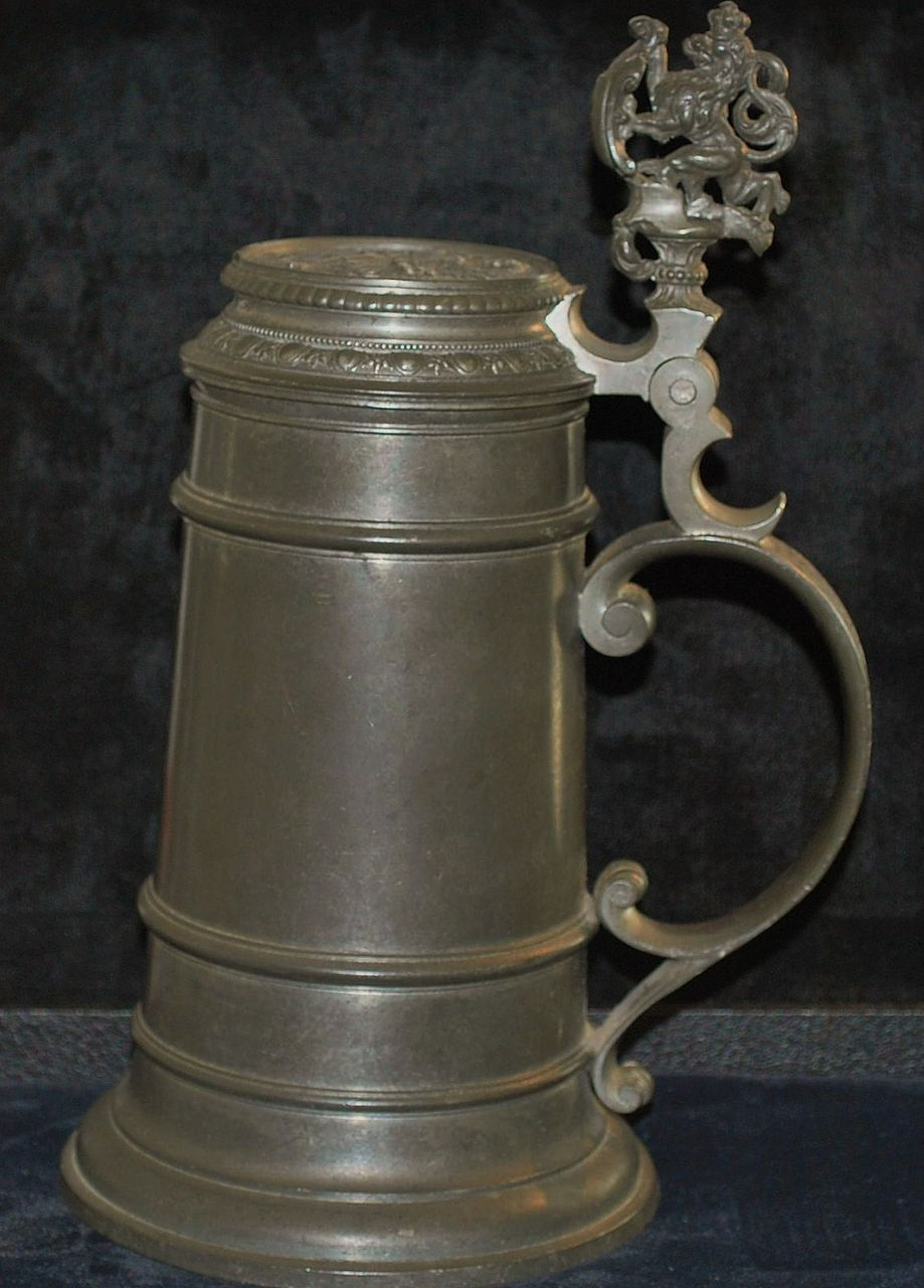 Very Fine German 1L Pewter Covered Stein,c.1880
