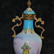French  Celeste Blue Covered Porcelain Urn,c.1891