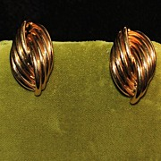 Pair of 14K Gold By-pass Twist Earrings