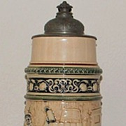 German Hanke 3 Liter Stoneware Covered Stein,c.1895
