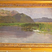 "German  ""Lake Landscape"" Painting - Scherbring (1859-1899)"