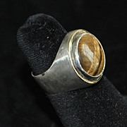 18K 950 Silver Vancox Tiger Eye Ring