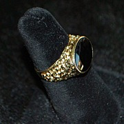 14K Man's Black Onyx Signet Ring