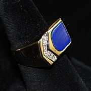 14K Man's Lapis and Diamond Ring