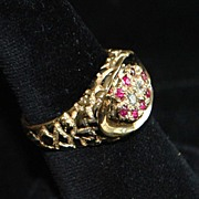 14K Man's Ruby and Diamond Nugget Style Ring