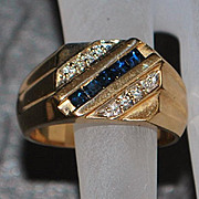 14K Man's Sapphire and Diamond Ring