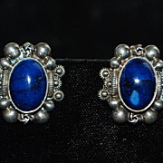 Pair of Peruzzi 800 Silver Azurite Clip-on Earrings