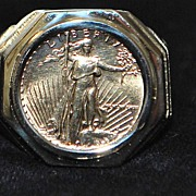 14K Man's $5.00 Gold Coin Ring