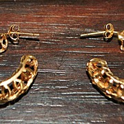 Pair of Open Work 14K Gold Earrings