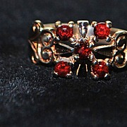 English Victorian 9K Rose Gold Garnet Ring,1890's