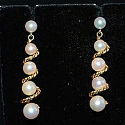 Pair of 14K Cultured Pearl and Gold Swirl Earrings, 1960's