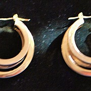 Pair of 14K Gold Triple Loop Earrings