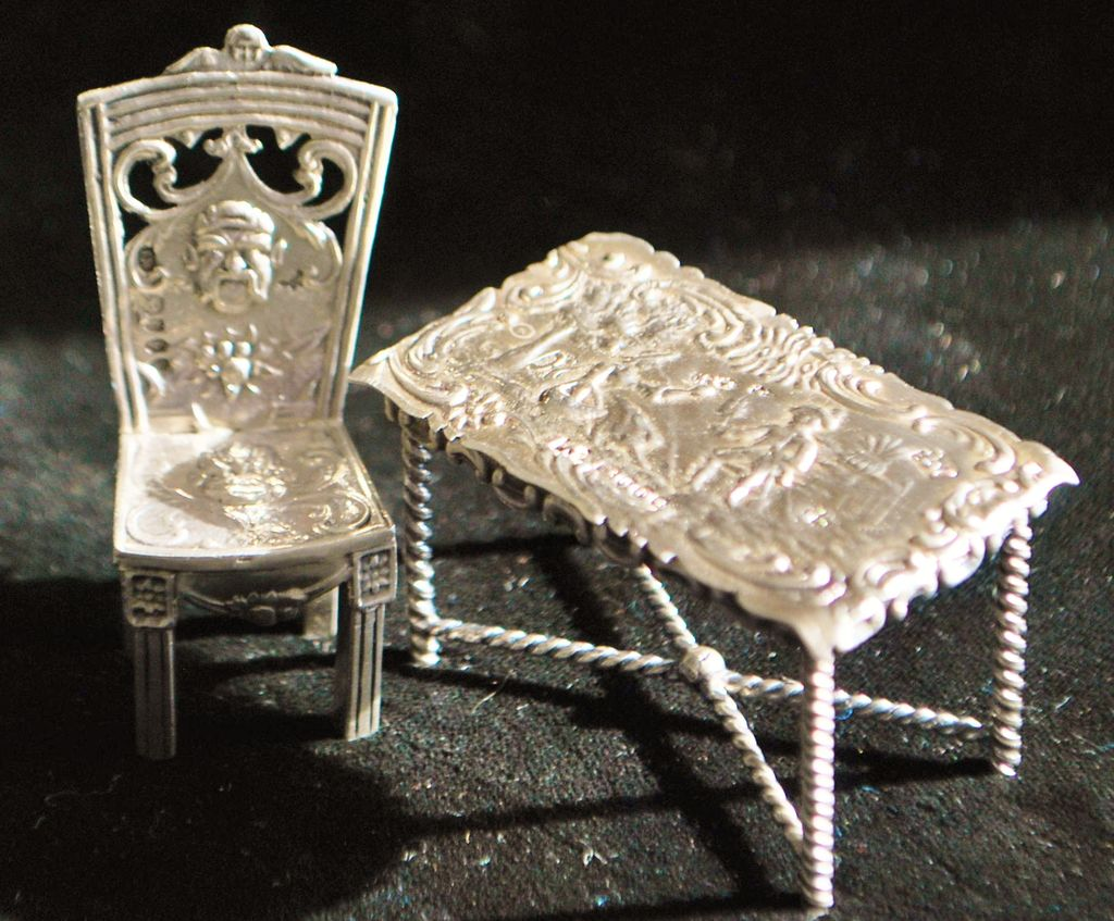 Dutch Miniature Silver Table and Chair, c. 1895