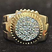 14K Large Man's Pave Diamond Oyster Style Ring