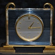 J. E. Caldwell & Co. Gild Brass Table Clock,. c.1950