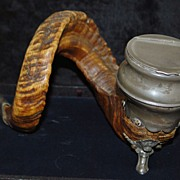 English Victorian Horn and Pewter  Snuff Table Mull, c. 1875