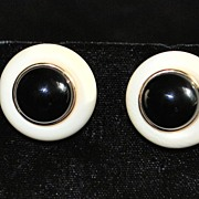 Pair of 14K Black Onyx and Bone Earrings