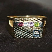 14K Large Man's Multi-stone Ring