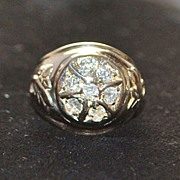 14K Man's Retro Diamond Cluster Ring, c. 1940