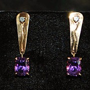 Pair of 14K Retro Amethyst and Diamond Dangle Earrings,1960's