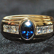 14K Retro Sapphire and Diamond Ring,1960's
