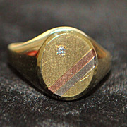 14K Tri-color Small Signet Ring, 1980's