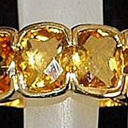 14K Large Man's Madera Citrine Half Hoop Ring