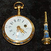 French Gold Enamel 18th Century Pocket Watch by Ageron