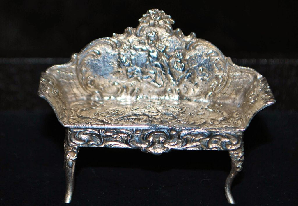 French Miniature Silver Salon Couch, c. 1890