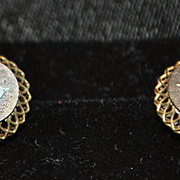 Victorian Gold Mixed Metal Earrings, c. 1885