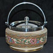 English Victorian Tapestry Ware Candy Pot,c.1890