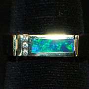 14K Man's Tailored Black Opal and Diamond Ring