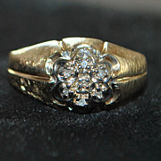 14K Man's Diamond Cluster Ring, 1960's
