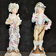 Pair of Fine German Dresden Porcelain Figurines, c. 1900
