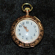 !4K Gold Swiss Pendant Watch, 1890's