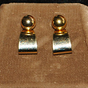 Pair of 14K Gold Ball and Curl Earrings