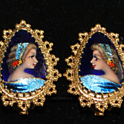 Pair of 14K gold French Limoges Enamel Earrings