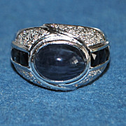18K w/g 5ct Sapphire and Pave Diamond Ring