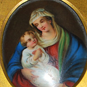"German Hp Porcelain Painting of the ""Madonna and Child"",1880's"
