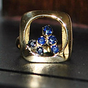 18K Italian Modernist Sapphire Ring - 1970's