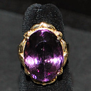 14K Large Amethyst Cocktail Ring - 1960's