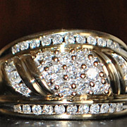 14k Diamond (1ct) Dome Fashion Ring